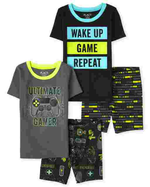 Boys Short Sleeve Video Game Snug Fit Cotton Pajamas 2-Pack
