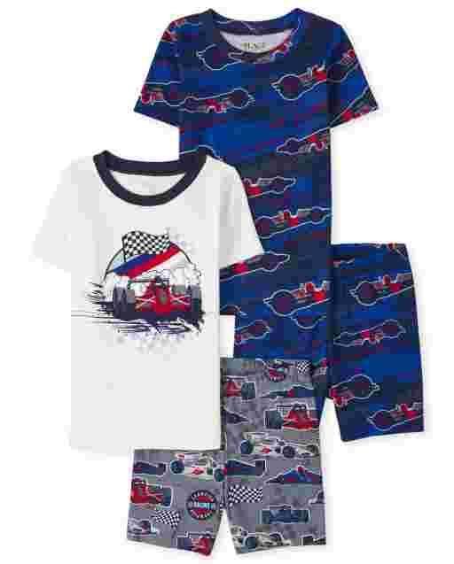 Pijama de 4 piezas de algodón con ajuste ceñido para niño Race Car