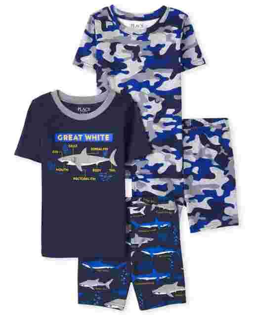 Boys Short Sleeve Camo And Shark Snug Fit Cotton Pajamas 2-Pack