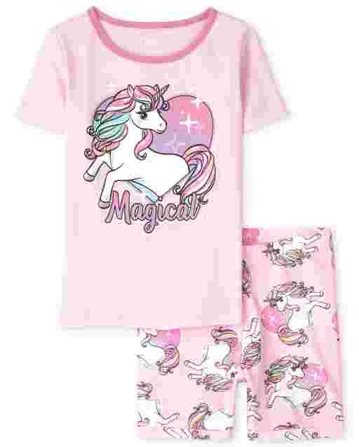 Pijama de algodón de manga corta para niñas ' Magical '