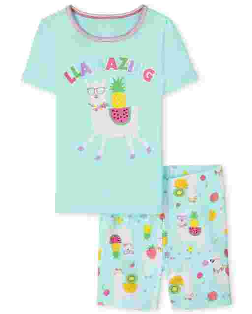 Niña de manga corta ' Llamazing ' Pijama de algodón de ajuste ceñido