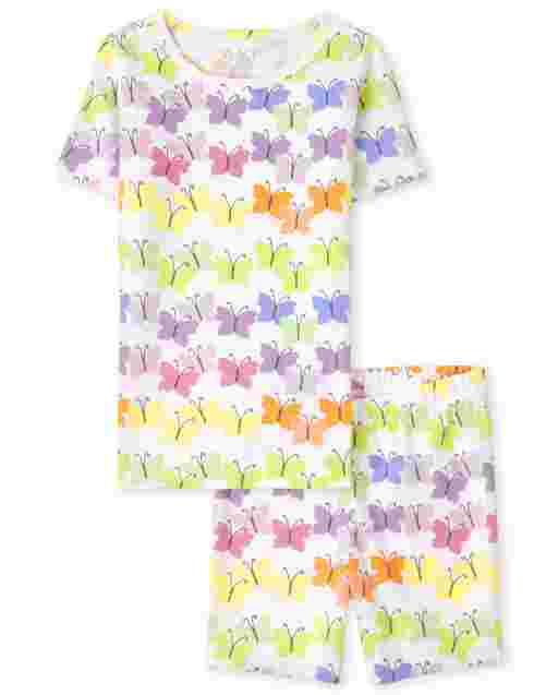 Pijama de algodón de manga corta con estampado de mariposas arcoíris para niñas
