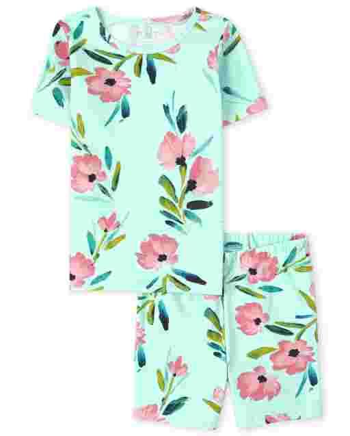 Pijama de algodón de manga corta con estampado floral y ajuste ceñido para niñas