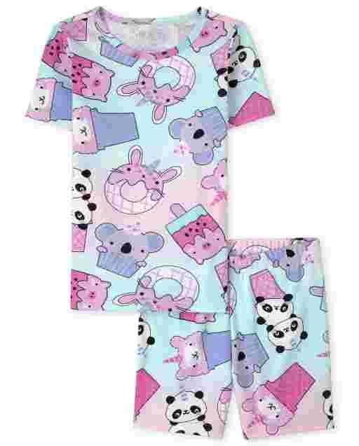 Pijama de algodón con estampado de Squishies de manga corta para niñas