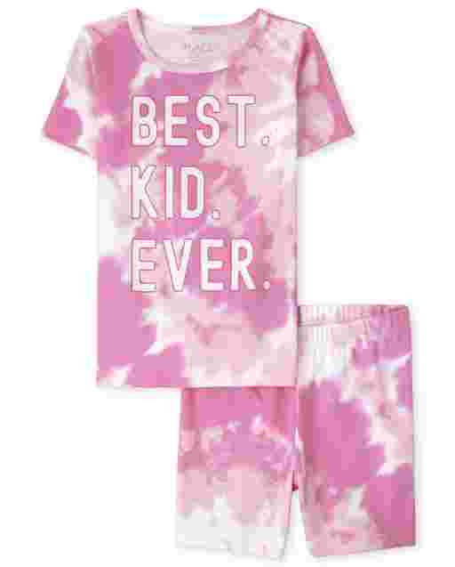 Girls Matching Family Short Sleeve 'Best Kid Ever' Tie Dye Snug Fit Cotton Pajamas