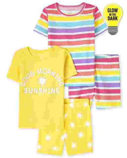 Girls Short Sleeve Glow In The Dark 'Good Morning Sunshine' And Rainbow Striped Snug Fit Cotton Pajamas 2-Pack