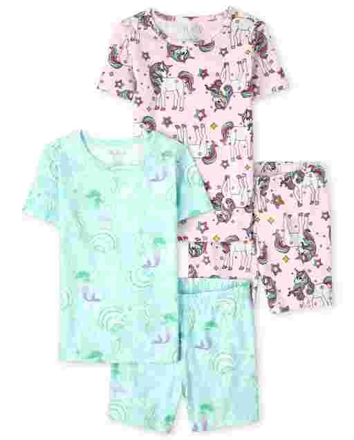 Girls Short Sleeve Unicorn And Mermaid Print Snug Fit Cotton Pajamas 2-Pack
