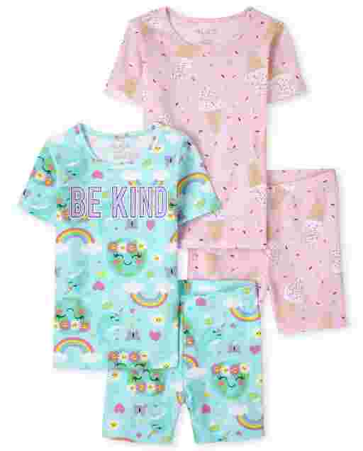 Girls Short Sleeve Ice Cream And 'Be Kind' Rainbow Snug Fit Cotton Pajamas 2-Pack