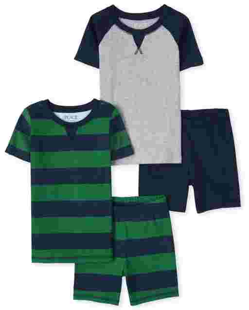 Boys Short Sleeve Striped And Raglan Snug Fit Cotton Pajamas 2-Pack