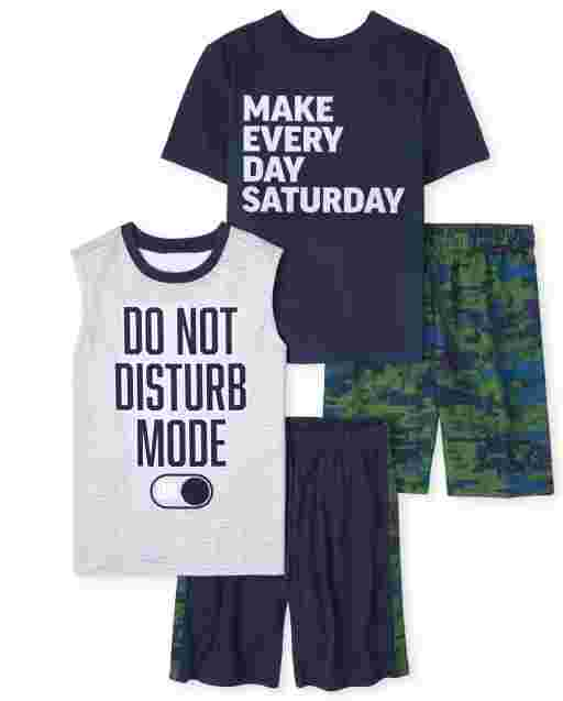 Boys Short Sleeve 'Make Every Day Saturday' And Sleeveless 'Do Not Disturb Mode' Pajamas 2-Pack