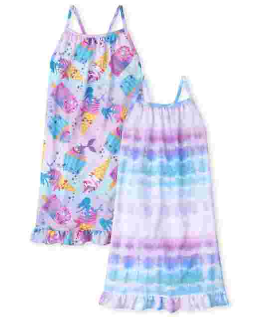 Girls Sleeveless Tie Dye Nightgown 2-Pack