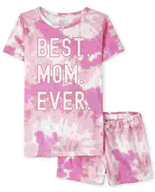 Womens Matching Family Short Sleeve 'Best Mom Ever' Tie Dye Cotton Pajamas