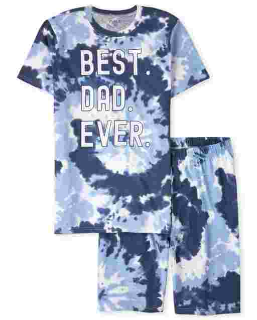 Mens Matching Family Short Sleeve 'Best Dad Ever' Tie Dye Cotton Pajamas