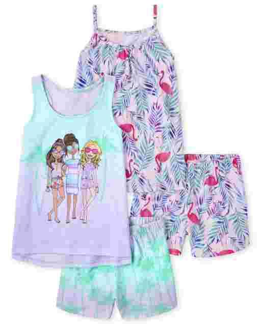 Pack de 2 pijamas sin mangas con flamencos y palmeras para niñas