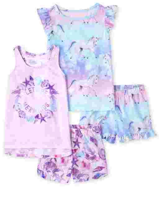 Pack de 2 pijamas de unicornio de manga corta y sirena sin mangas para niñas