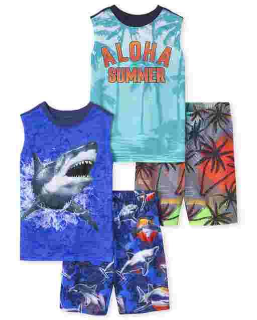Boys Sleeveless 'Aloha Summer' And Shark Pajamas 2-Pack