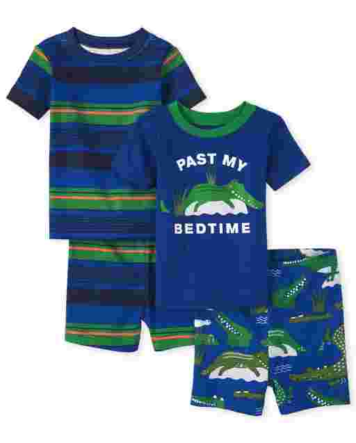 Baby And Toddler Boys Short Sleeve 'Way Past My Bedtime' Alligator And Striped Snug Fit Cotton Pajamas 2-Pack