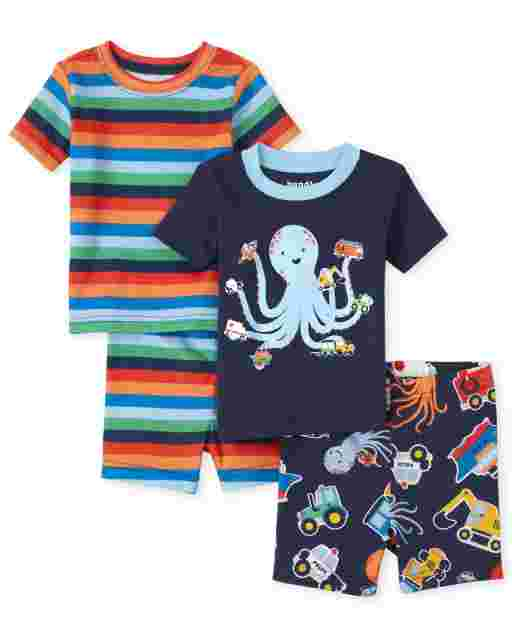 Baby And Toddler Boys Short Sleeve Octopus Striped Snug Fit Cotton Pajamas 2-Pack