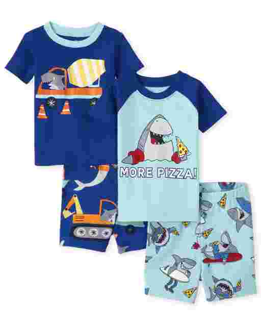 Baby And Toddler Boys Short Sleeve Shark Snug Fit Cotton Pajamas 2-Pack