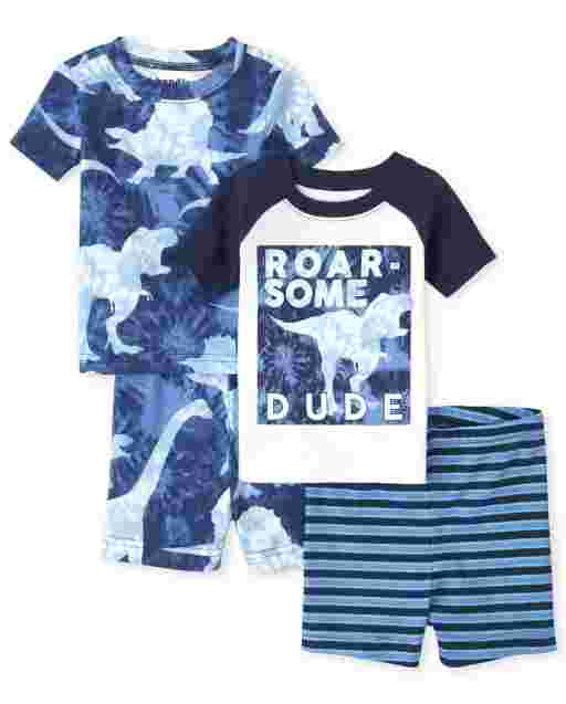 Baby And Toddler Boys Short Sleeve Dino Snug Fit Cotton 4-Piece Pajamas