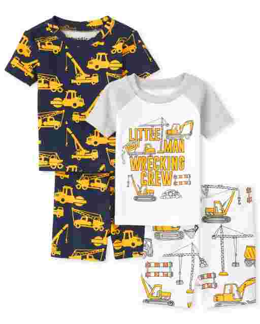 Baby And Toddler Boys Short Sleeve Construction Snug Fit Cotton Pajamas 2-Pack