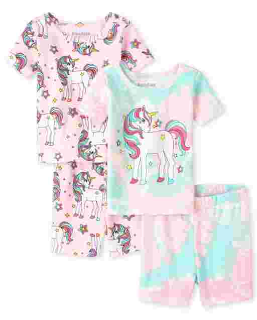 Baby And Toddler Girls Short Sleeve Unicorn Snug Fit Cotton Pajamas 2-Pack