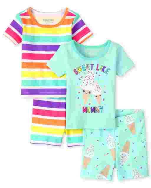 Baby And Toddler Girls Short Sleeve 'Cool Like Mommy' Ice Cream And Rainbow Striped Snug Fit Cotton Pajamas 2-Pack