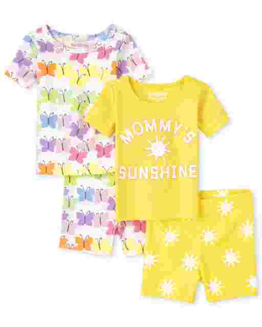 Baby And Toddler Girls Short Sleeve Butterfly Sun Snug Fit Cotton 4-Piece Pajamas