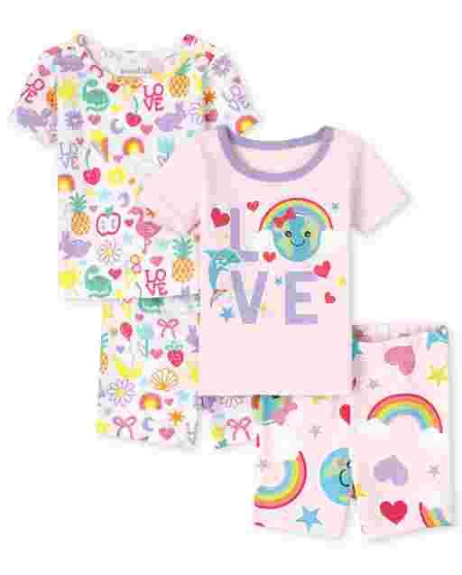 Pijamas de algodón con ajuste ceñido ' Love ' Earth de manga corta para bebés y niñas pequeñas, paquete de 2