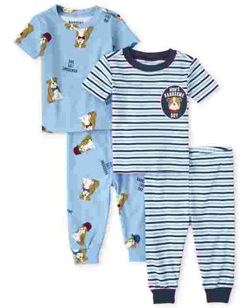 Baby And Toddler Boys Short Sleeve Bull Dog Snug Fit Cotton Pajamas 2-Pack
