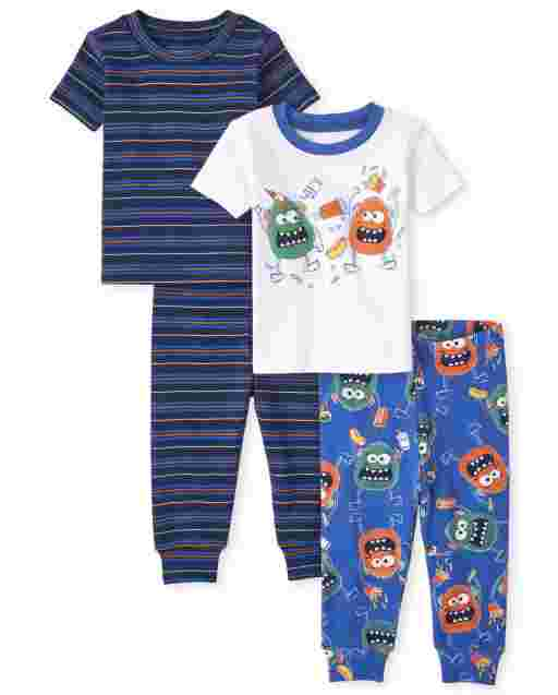 Baby And Toddler Boys Short Sleeve Monster And Striped Snug Fit Cotton Pajamas 2-Pack