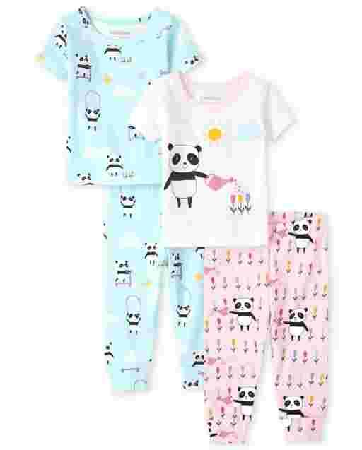 Baby And Toddler Girls Short Sleeve Panda Snug Fit Cotton Pajamas 2-Pack