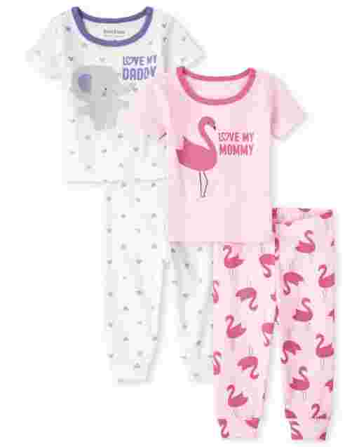 Baby And Toddler Girls Short Sleeve 'Love My Mommy And Daddy' Snug Fit Cotton Pajamas 2-Pack