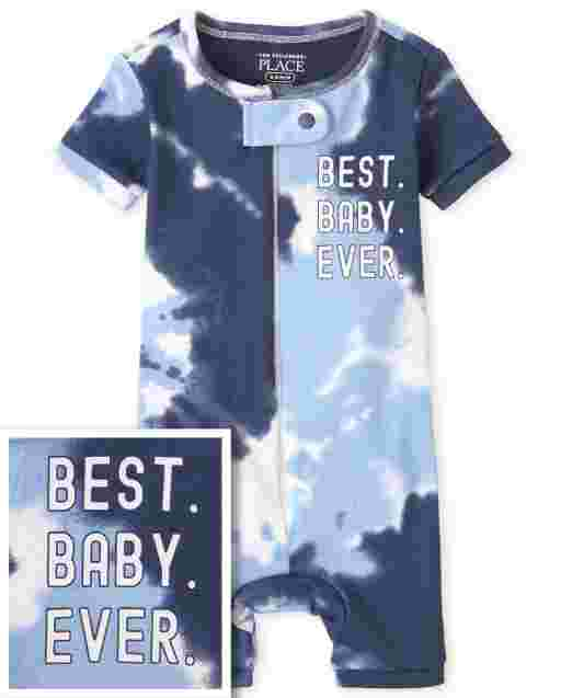 Baby And Toddler Boys Matching Family Short Sleeve Tie Dye Snug Fit Cotton Cropped One Piece Pajamas