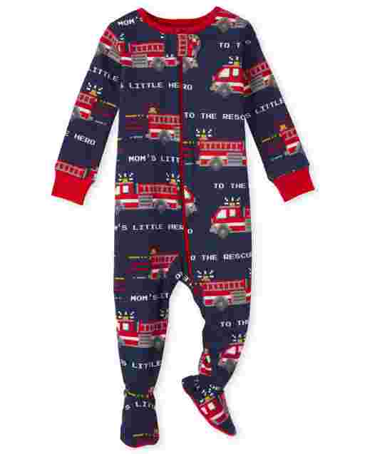 Baby And Toddler Boys Short Sleeve Fire Truck Print Snug Fit Cotton One Piece Pajamas