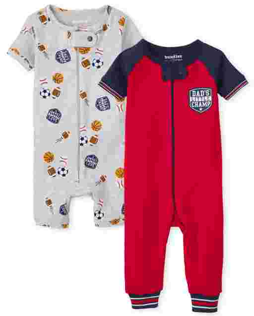 Baby And Toddler Boys Short Sleeve Sports Print Snug Fit Cotton One Piece Pajamas 2-Pack
