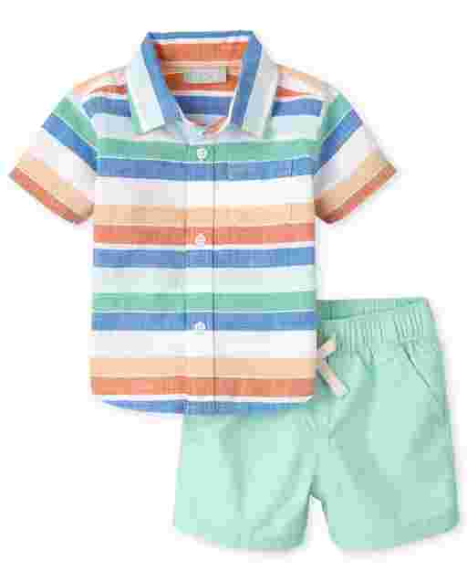 Baby Boys Short Sleeve Striped Chambray Button Down Shirt And Woven Jogger Shorts Outfit Set