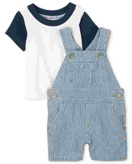 Baby Boys Sleeveless Railroad Denim Shortalls And Short Sleeve Top Outfit Set