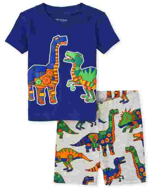 Baby And Toddler Boys Short Sleeve Robot Dino Snug Fit Cotton Pajamas