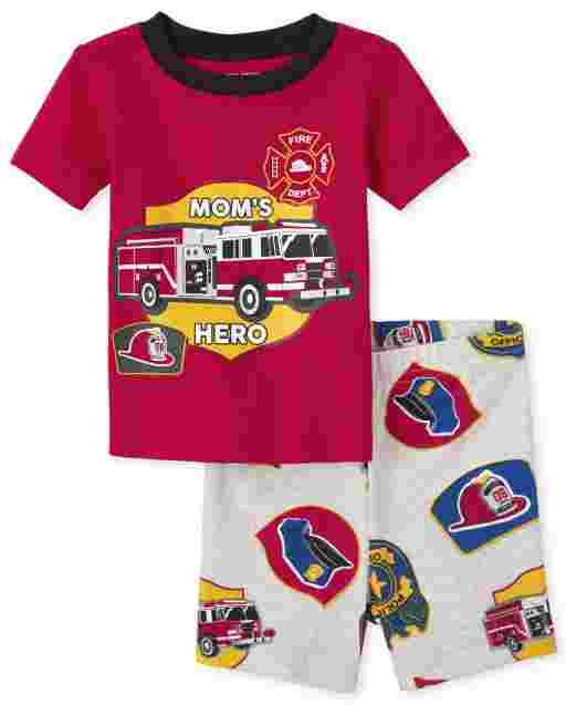 Baby And Toddler Boys Short Sleeve 'Mom's Hero' Fire Truck Snug Fit Cotton Pajamas