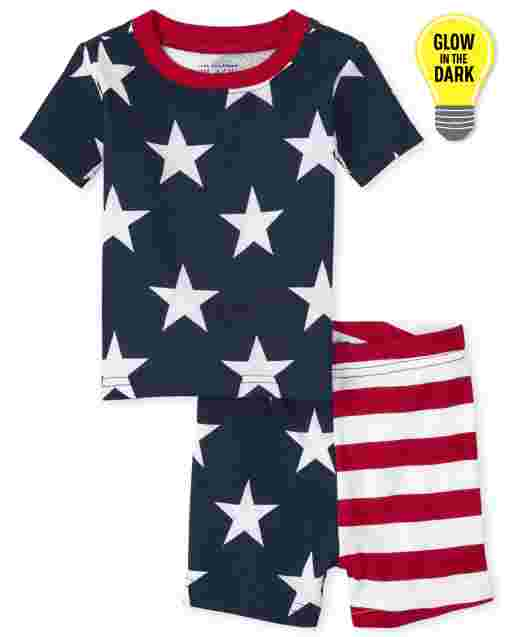 Unisex Baby And Toddler Matching Family Americana Short Sleeve Glow Snug Fit Cotton Pajamas