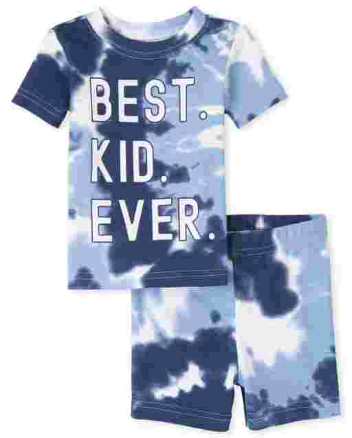 Baby And Toddler Boys Matching Family Short Sleeve 'Best Kid Ever' Tie Dye Snug Fit Cotton Pajamas