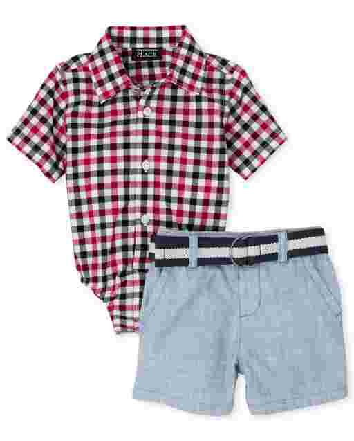 Baby Boys Dad And Me Americana Short Sleeve Poplin Button Down Bodysuit And Belted Woven Chino Shorts 2-Piece Set
