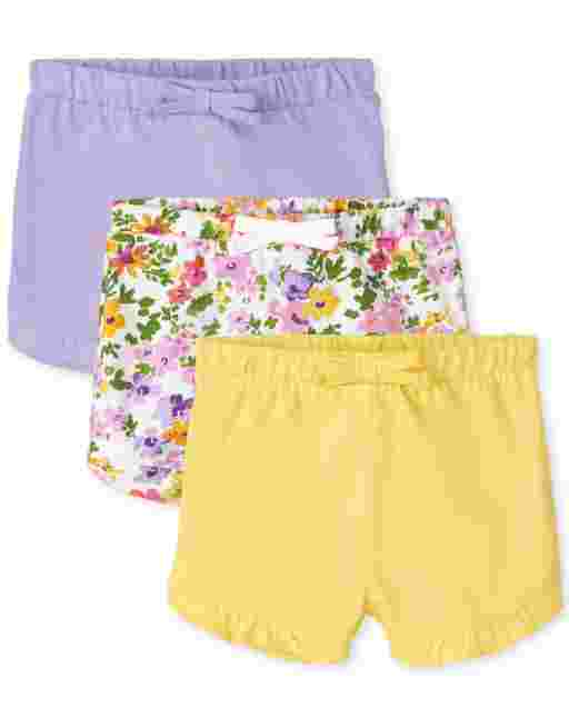 Baby Girls Floral Print And Solid Knit Ruffle Shorts 3-Pack