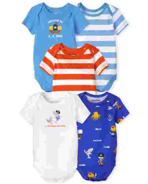 Baby Boys Short Sleeve Pirate Bodysuit 5-Pack