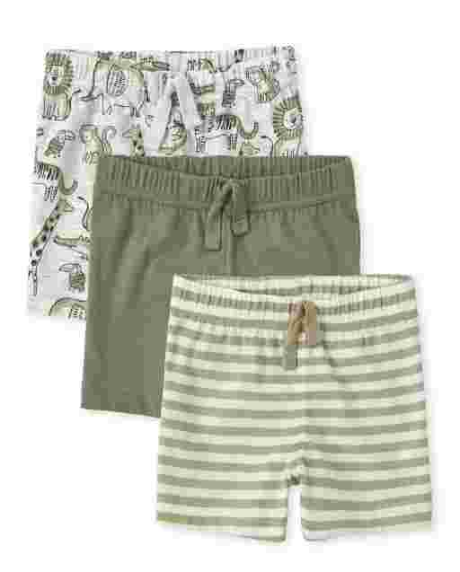 Baby Boys Safari Print Solid And Striped Knit Shorts 3-Pack