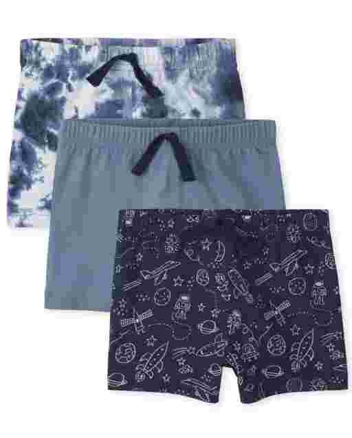Baby Boys Space Print Solid And Tie Dye Knit Shorts 3-Pack