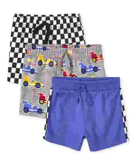 Baby Boys Race Car Knit Shorts 3-Pack