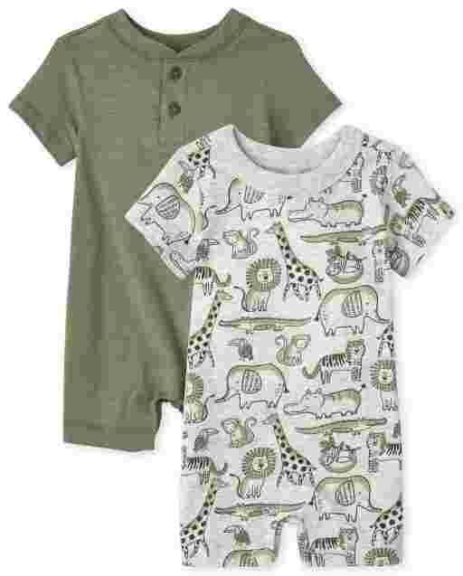 Baby Boys Short Sleeve Safari Print And Henley Knit Romper 2-Pack