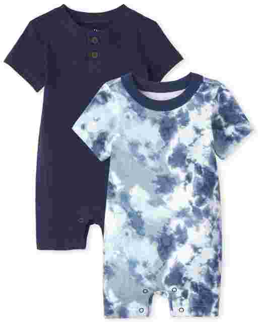 Baby Boys Short Sleeve Tie Dye And Henley Knit Romper 2-Pack